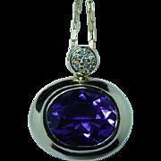 Vintage H Stern 18K Gold Amethyst Diamond Necklace Designer Signed