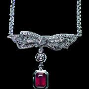 Vintage 18K White Gold Diamond Ruby Dangle Bow Necklace Estate