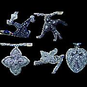 ART DECO Platinum 18K Gold Old European Diamond Swallow Duck Heart Charm Necklace Estate