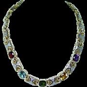Vintage 25ct Tourmaline Garnet Amethyst Diamond Necklace 14K Gold Designer 71gr over 2oz