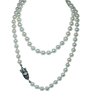 """Vintage MIKIMOTO 16"""" Cultured Akoya Pearl Necklace Silver Clasp Boxed Estate Jewelry"""