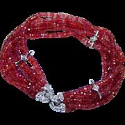 "Vintage 60ct Orange Sapphire Diamonds 14K White Gold Bracelet Estate 6.75"""