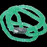 Vintage 80ct Emerald Diamonds 14K White Gold Necklace Estate Jewelry