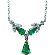Vintage Emerald Marquise Diamond Dangling Necklace 18K White Gold Estate