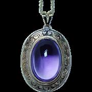 Vintage Diamond Amethyst 15K Gold Necklace Large Estate Designer Signed 11ct