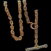 Vintage Toggle Clasp Diamond Necklace 18K Gold Heavy Estate Designer