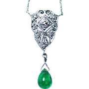 Vintage Emerald Old European Diamonds Dangle Necklace Platinum Estate Jewelry