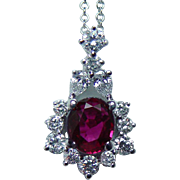 Vintage Gem Ruby Pear cut Diamond Necklace 18K White Gold Estate