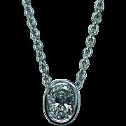Vintage Estate Platinum .37ct VS-GH Oval Diamond Solitaire Necklace