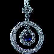 Vintage Sapphire Diamond Halo Necklace 18K White Gold Estate