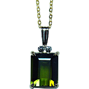 Vintage H Stern 18K Gold Platinum Tourmaline Diamond Necklace Designer Signed