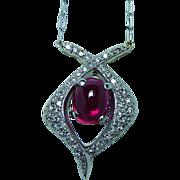 Vintage Diamond Tourmaline Necklace 18K White Gold Estate Flawless Gem