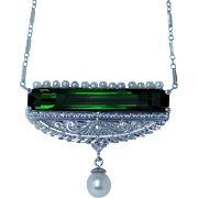 Art Deco Tourmaline Miner Cushion Diamond Filigree Necklace 14K White Gold Estate