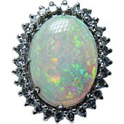 Giant Vintage 7ct Gem Opal Diamond Ring 14K White Gold Heavy Estate Jewelry