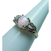 Vintage Diamond Baguette Opal Ring 14K Gold Estate