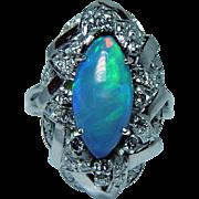 Vintage 14K White Gold Opal Diamond Ring Estate Giant Spectacular