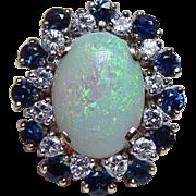 Giant Vintage Opal 1.4ct Diamonds Sapphire Cocktail Ring 18K Gold Estate Sz 9.25