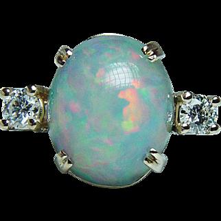 Vintage 7ct Opal Large Diamonds 3 stone Ring 14K Gold Estate