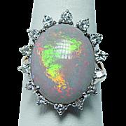 Giant Vintage 11ct Gem Opal Diamond Ring 14K Gold Estate Jewelry Size 10.25