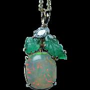 Vintage 18K Gold Opal Diamond Carved Emerald Pendant Estate Jewelry