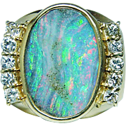Vintage Boulder Opal Diamonds Ring 18K Gold Heavy Estate Jewelry