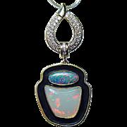 Designer Signed Giant Diamond Opal Pendant 18K Gold Estate Jewelry