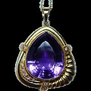 Giant Vintage 21ct Amethyst Diamond Pendant 18K Gold High Quality Estate