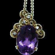 Vintage H Stern 18K Gold Amethyst Diamond Pendant 12ct Designer Signed Jewelry