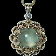 Large Vintage 3ct Aquamarine Diamond 14K Gold Fleur de Lis Pendant Estate