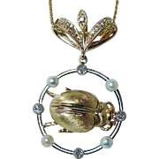 Vintage Old European Diamonds Beetle Pendant 18K Gold Estate Jewelry