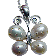 Genuine Cultured Pearl Pink Champagne Diamond Butterfly Pendant Enhancer 18K White Gold Estate Jewelry