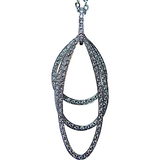 Gregg Ruth 18K White Gold Diamond Moving Pendant Estate