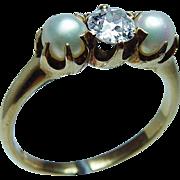 Victorian Old European Diamond  Natural Pearl 18K Gold Ring Estate Hallmarked