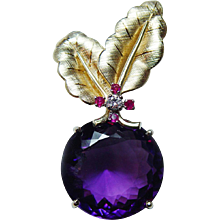 Giant Vintage 25ct Amethyst Diamond Ruby Pendant 18K Gold High Quality Estate - Red Tag Sale Item