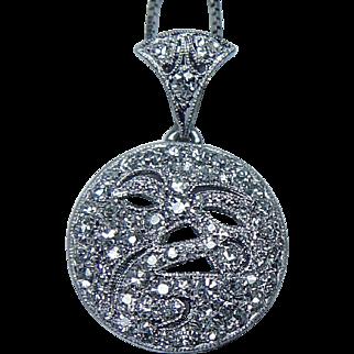 Vintage Platinum Old cut Diamond Pendant Estate Jewelry Moon Face