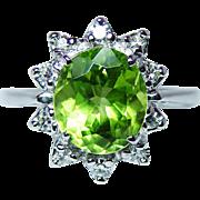 Vintage 2.5ct Peridot Diamond Ring 14K White Gold Estate