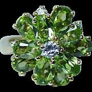 Kurt Wayne Vintage Peridot Diamond Ring 18K Gold Estate Designer Signed