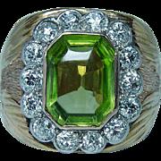 Vintage 1.70ct Old Miner Diamond Peridot Ring 18K Gold Platinum Heavy Estate Size10