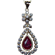 Vintage 1.4ct Gem Ruby 1ct Super Diamonds Pendant 14K Gold Estate Jewelry