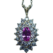 Vintage Diamond Pink Sapphire 18K Gold Halo Pendant Estate