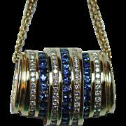 Vintage 3.20ct Sapphire Diamond Pendant Slide 14K Gold Heavy Estate $2,787 Retail