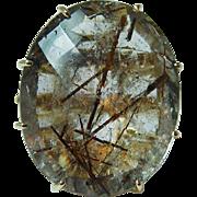 Giant 37ct Rutilated Quartz Diamond Ring 18K Gold Heavy Estate