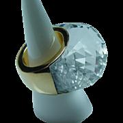 GIANT 18K Gold Quartz RING Heavy 24.9gr Estate Sz 6.25-6.5
