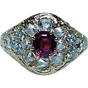 Antique Old Miner Cushion Diamond Ruby Ring 18K Gold Estate circa 1870s