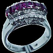VINTAGE 18K White Gold Princess Ruby Diamond Filigree Ring  2.20cts Estate
