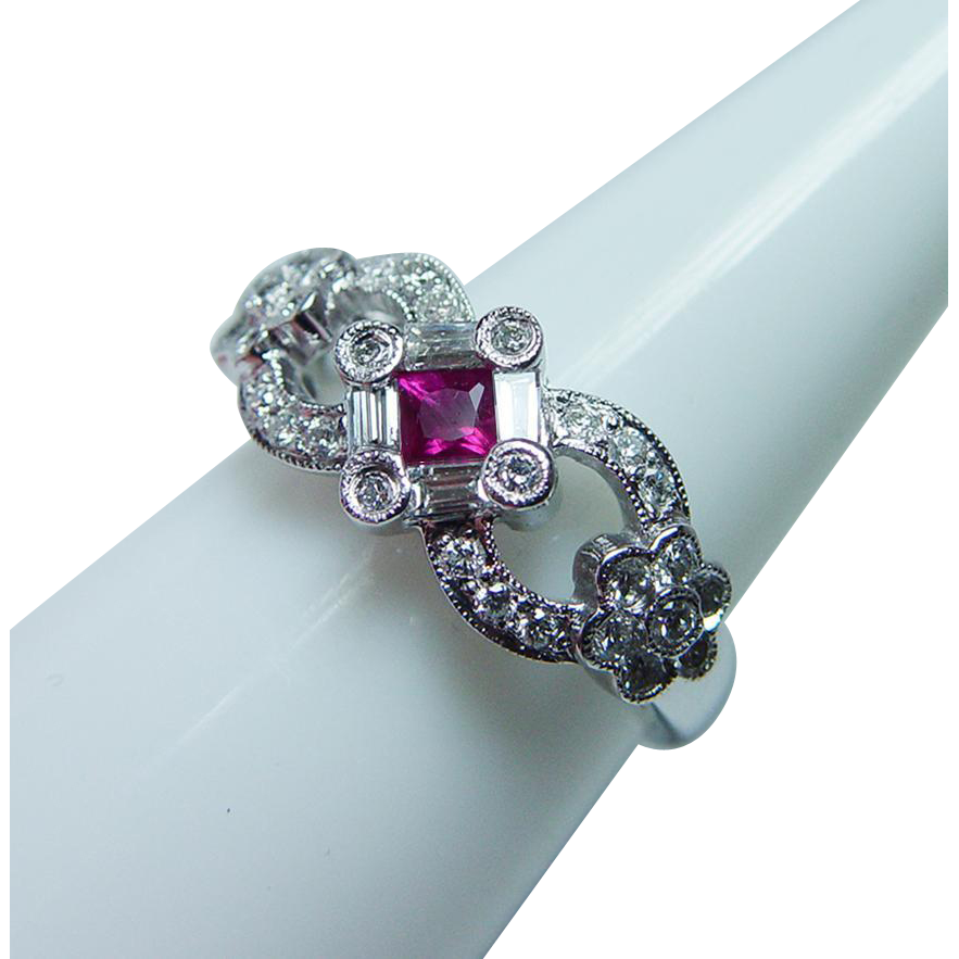 Vintage Gem Ruby Baguette Diamond 14K White Gold Flower
