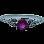 Vintage 18K White Gold Ruby Diamond Engagement Ring Estate Traub Orange Blossom