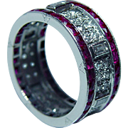 Art Deco Platinum French Ruby Baguette Diamond Eternity Ring Band Estate