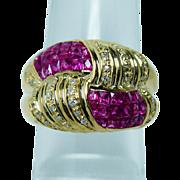Vintage French Ruby Diamond Ring 18K Gold HEAVY Designer Estate
