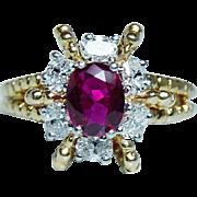 Oscar Heyman Ruby Oval Diamond Ring 18K Gold Platinum Designer Signed
